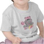 Camiseta del dibujo animado del hipopótamo del beb
