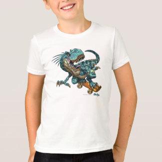Camiseta del dinosaurio que anda en monopatín playera