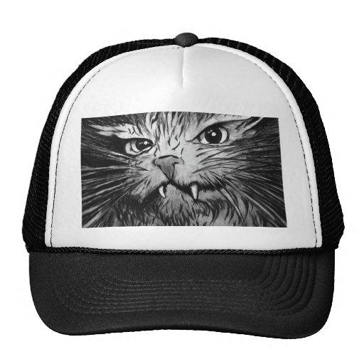 Camiseta del diseño del gato gorro de camionero