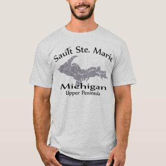 Camiseta del diseño del mapa de Sault Ste Marie
