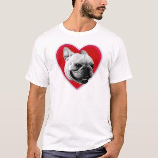 Camiseta del dogo francés del amor