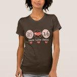 Camiseta del dulce dieciséis del amor de la paz