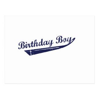 Camiseta del equipo del muchacho del cumpleaños postal