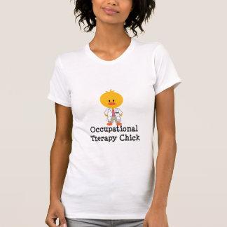 Camiseta del escote redondo del polluelo de la poleras