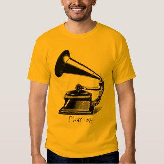 Camiseta del fonógrafo del vintage playera