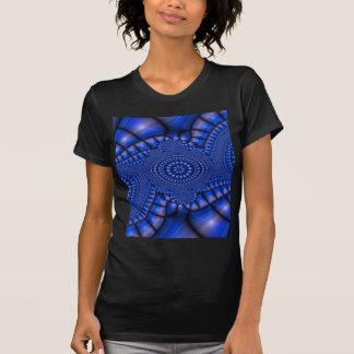 Camiseta del fractal del mosaico del azul real