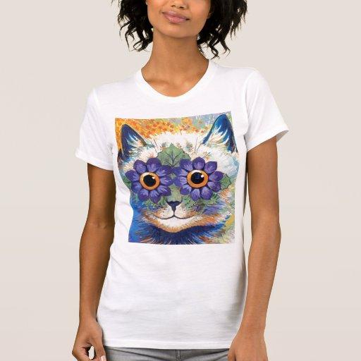 Camiseta del gato de la flor remera