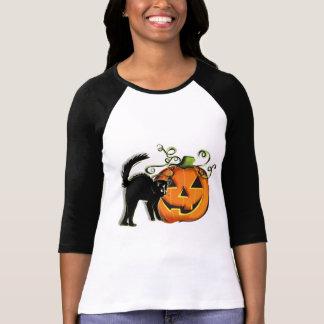 Camiseta del gato de la Jack-O-Linterna N Poleras