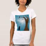 Camiseta del gato de la observación de pájaros