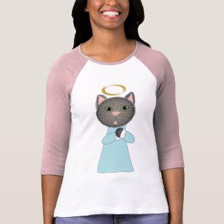 Camiseta del gato del ángel poleras