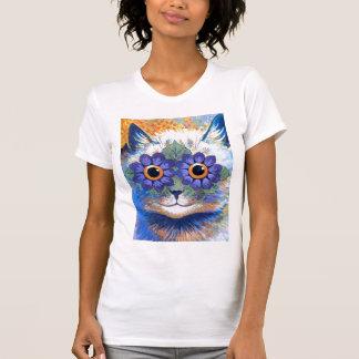 Camiseta del gato del flower power