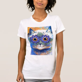 Camiseta del gato del flower power playeras
