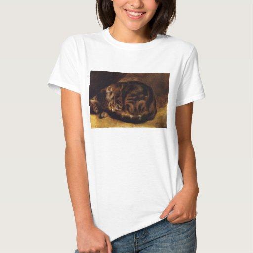 Camiseta del gato el dormir de Renoir Polera