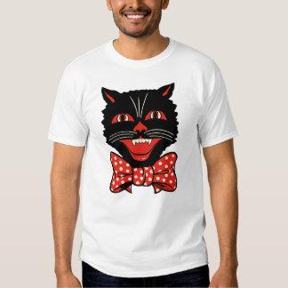 Camiseta del gato negro del vintage polera