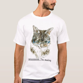 ¡Camiseta del gato y del aficionado a los libros! Playera