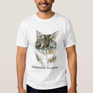 ¡Camiseta del gato y del aficionado a los libros! Playeras