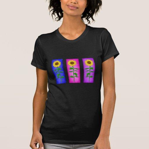 Camiseta del girasol del trío