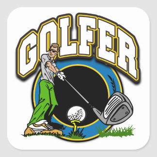 Camiseta del golfista apagado pegatina cuadrada