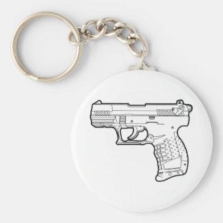camiseta del gráfico de la plantilla del arma de f llavero redondo tipo pin