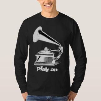 Camiseta del gramófono del vintage playera