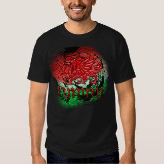 Camiseta del Grunge con el dragón y Cymru Galés Playera