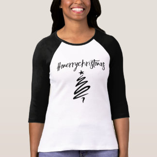camiseta del hashtag de los #MerryChristmas Polera