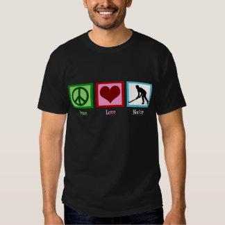 Camiseta del hockey hierba del amor de la paz poleras