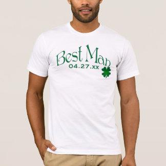 Camiseta del hombre del trébol del verde esmeralda