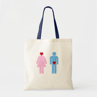 Camiseta del humor del amor de la mujer del hombre bolsa