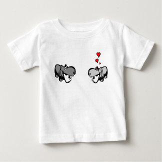 Camiseta del jersey del bebé - hipopótamo en amor