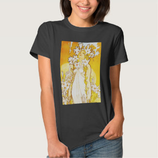 Camiseta del lirio de Alfonso Mucha Playeras