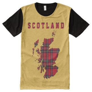 Camiseta del mapa de Escocia del tartán