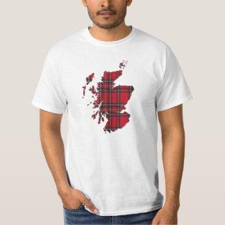 Camiseta del mapa de Escocia del tartán Playeras