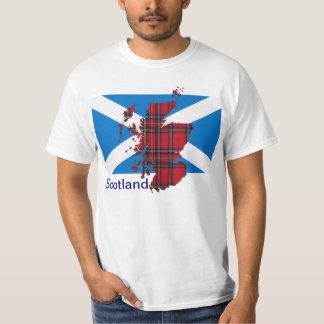 Camiseta del mapa de Escocia Saltire del tartán Remera