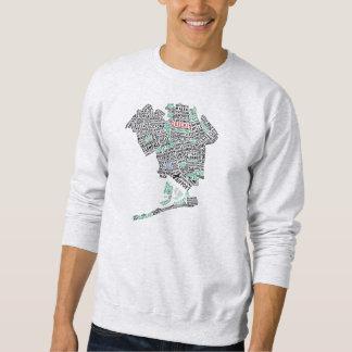 Camiseta del mapa de la tipografía del Queens NY Sudadera