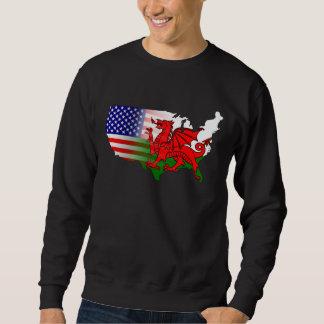 Camiseta del mapa de las banderas Galés del Pulóver Sudadera