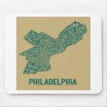 Camiseta del mapa de Philly Alfombrilla De Ratón