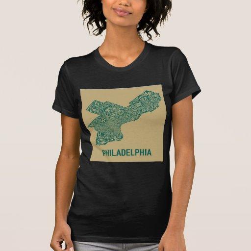 Camiseta del mapa de Philly Camisas