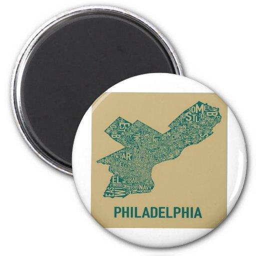 Camiseta del mapa de Philly Iman Para Frigorífico