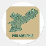Camiseta del mapa de Philly Pegatina Redonda