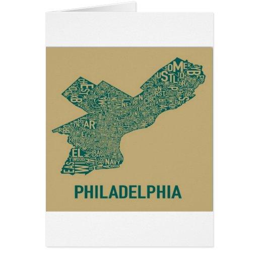 Camiseta del mapa de Philly Tarjeta De Felicitación