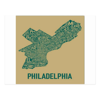 Camiseta del mapa de Philly Tarjeta Postal
