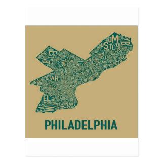 Camiseta del mapa de Philly Postales