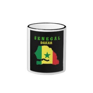 CAMISETA DEL MAPA DE SENEGAL Y ETC TAZA DE DOS COLORES