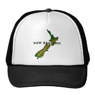 Camiseta del mapa del helecho de Nueva Zelanda Gorros Bordados