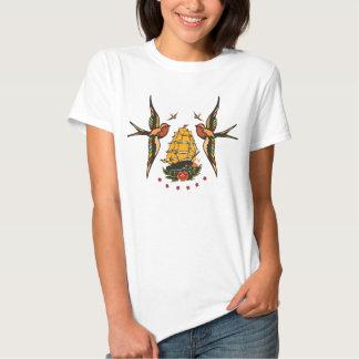 Camiseta del marinero de la nave del vintage y del polera
