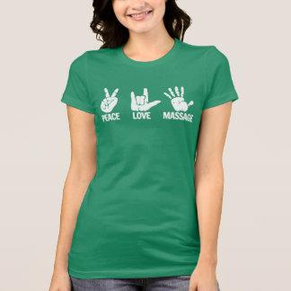 Camiseta del masaje: La paz, amor, da masajes a bl