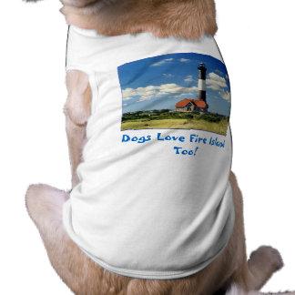 Camiseta del mascota de la isla del fuego playera sin mangas para perro