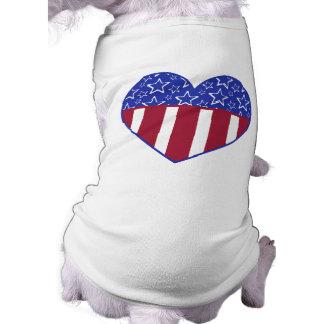 Camiseta del mascota del corazón de los E.E.U.U. Playera Sin Mangas Para Perro
