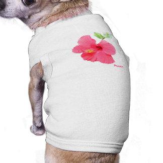 Camiseta del mascota del hibisco playera sin mangas para perro